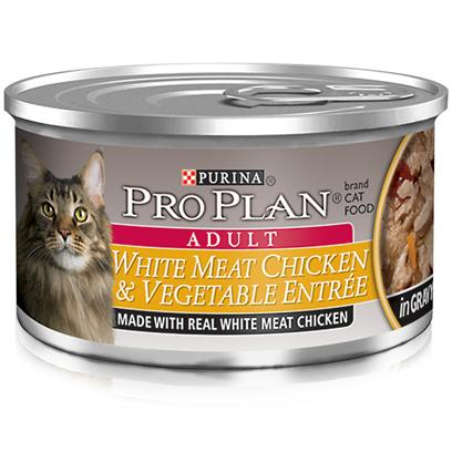 Nestle Purina Petcare Presents Pro Plan Canned Chicken/Vegetable in Gravy for Cats Chicken/Vegetables 24 3oz Cans. Analysis Crude Protein (Min) - 10.0 % Crude Fat (Min) - 2.0 % Crude Fiber (Max) - 1.5 % Moisture (Max) - 82.0 % Ash (Max) - 3.0 % Taurine (Min) 0.05 % [28011]