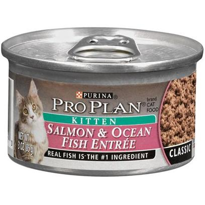 Nestle Purina Petcare Presents Pro Plan Canned Salmon/Ocean Whitefish for Cats 24 3oz Cans. Analysis Crude Protein (Min) - 13.0 % Crude Fat (Min) - 6.0 % Crude Fiber (Max) - 1.5 % Moisture (Max) - 76.5 % Ash (Max) - 3.7 % Taurine (Min) -0 0.05 % [28014]