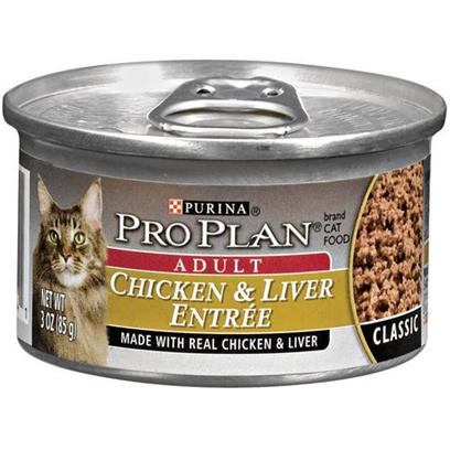 Nestle Purina Petcare Presents Pro Plan Canned Chicken/Liver for Adult Cats Cat 24 3oz Cans. Analysis Crude Protein (Min) - 11.0 % Crude Fat (Min) - 5.5 % Crude Fiber (Max) - 1.5 % Moisture (Max) - 78.0 % Ash (Max) - 3.0 % Taurine (Min) 0.05 % [28015]