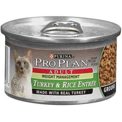 Nestle Purina Petcare Presents Pro Plan Canned Weight Management for Cats 24 3oz Cans. Analysis Crude Protein (Min) - 12.0 % Crude Fat (Min) - 2.0 % Crude Fiber (Max) - 1.5 % Moisture (Max) - 78.0 % Ash (Max) - 2.7 % Taurine (Min) 0.05 % [28021]