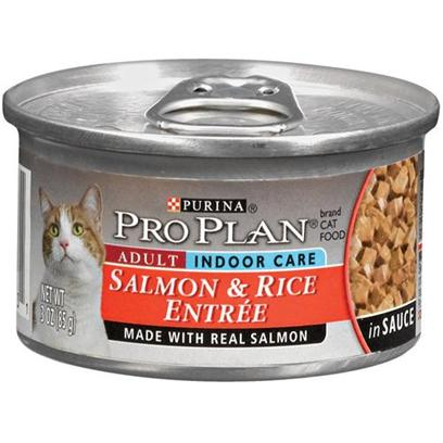 Nestle Purina Petcare Presents Pro Plan Canned Indoor Salmon/Rice for Adult Cats 24 3oz Cans. Analysis Crude Protein (Min) - 12.0 % Crude Fat (Min) - 2.0 % Crude Fiber (Max) - 1.5 % Moisture (Max) - 78.0 % Ash (Max) - 3.0 % Taurine (Min) 0.05 % [28023]