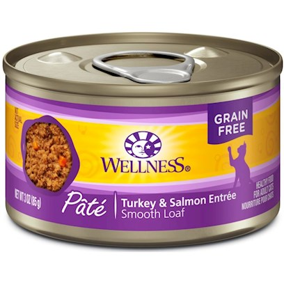 Wellpet Presents Wellness Canned Cat Food Turkey &amp; Salmon Recipe 3oz Cans-Case of 24. Wellness Canned Turkey &amp; Salmon Recipe Provides Two Sources of High Quality Protein and Essential Fatty Acids. Premium Quality Turkey and Salmon Provide a Source of Protein and Long Chain Omega 3 Fatty Acids which are Critical for Healthy Skin and Coat, Proper Body Function and Enhanced Learning. This Recipe also Includes Delicious Sweet Potatoes and Carrots as an Excellent Source of Vitamins, Minerals and Beta-Carotene. Fresh, Whole Cranberries and Blueberries are Added to Help Maintain Proper Urinary Tract Health. Key Benefits  Made with High Quality Meat, a Cat's Best Source of Protein  Contains Vitamins and Antioxidants that Help Maintain your Cat's Immune System  Fresh, Whole Cranberries and Blueberries and Low Dietary Magnesium Helps Promote Proper Urinary Tract Function.  Fortified with Chelated Minerals and Vitamins  Taurine, an Essential Amino Acid for Cats is Necessary for Normal Eye and Heart Function [28044]