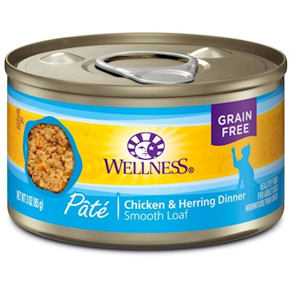 Wellpet Presents Wellness Canned Cat Food Chicken &amp; Herring Recipe 3oz Cans-Case of 24. Water is One of the Most Important Nutrients with Respect to a CatS Overall Wellbeing. Since Cats do not have a Strong Thirst Drive, it is Important for a Cat to Ingest Water with its Food. Packed with the Same Whole Food Nutrition as our Dry Formulas, Wellness Canned Foods are a Delicious Way to Increase your CatS Water Intake. As a Special Treat or as a Part of your Regular Feeding, Wellness Canned Foods are yet Another Tasty Way for your Cat to Eat Healthy. Wellness Canned Chicken &amp; Herring Recipe Provides Two Sources of High Quality Protein and Essential Fatty Acids, Made with Chicken and Fish Free of Added Growth Hormones and Steroids. Herring Contains a Long Chain of Omega 3 Fatty Acids, which are Critical for Healthy Skin and Coat, Proper Body Function and Enhanced Learning. High Quality Chicken Provides a Delicious, Digestible Protein Source. This Recipe also Includes Delicious Sweet Potatoes and Carrots as an Excellent Source of Vitamins, Minerals and Beta-Carotene. Wellness Canned Cat Foods are Perfect for Encouraging Hydration, to Help Support Urinary Tract Health. Key Benefits  Made with High Quality Meat, a CatS Best Source of Protein  Contains Vitamins and Antioxidants that Help Maintain your CatS Immune System  Fresh, Whole Cranberries and Blueberries and Low Dietary Magnesium Helps Promote Proper Urinary Tract Function.  Fortified with Chelated Minerals and Vitamins  Taurine, an Essential Amino Acid for Cats is Necessary for Normal Eye and Heart Function Nutrition Analysis Crude Protein not Less than 10.0% Crude Fat not Less than 5.0% Crude Fiber not More than 1.0% Moisture not More than 78.0% Ash not More than 2.3% Magnesium not More than 0.025% Taurine not Less than 0.10% Ingredients Chicken, Chicken Liver, Whitefish, Chicken Broth, Herring, Carrots, Natural Chicken Flavor, Sweet Potatoes, Squash, Zucchini, Dicalcium Phosphate, Guar Gum, Cranberries, Blueberries, Carrageenan, Ground Flaxseed, Potassium Chloride, Taurine, Calcium Carbonate, Iron Proteinate (a Source of Chelated Iron), Beta-Carotene, Zinc Proteinate (a Source of Chelated Zinc), Vitamin E Supplement, Choline Chloride, Cobalt Proteinate (a Source of Chelated Cobalt), Thiamine Mononitrate, Copper Proteinate (a Source of Chelated Copper), Folic Acid, Manganese Proteinate (a Source of Chelated Manganese), Niacin, D-Calcium Pantothenate, Sodium Selenite, Vitamin D-3 Supplement, Pyridoxine Hydrochloride, Riboflavin Supplement, Vitamin a Supplement, Vitamin B-12 Supplement, Potassium Iodide, Biotin. This is a Naturally Preserved Product. What it's Made without Meat by-Products, Corn or Corn Gluten, Soy, Artificial Preservatives, Wheat or Wheat Gluten or Artificial Flavors, Colors or Dyes [28047]