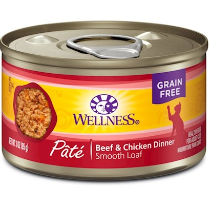 Wellpet Presents Wellness Beef &amp; Chicken Recipe Canned Cat Food 3oz Cans-Case of 24. Wellness Canned Beef &amp; Chicken Recipe Provides Two Sources of High Quality Protein and Essential Fatty Acids, Made with High Quality Beef and Chicken Free of Added Growth Hormones and Steroids.This Recipe also Includes Delicious Sweet Potatoes and Carrots as an Excellent Source of Vitamins, Minerals and Beta-Carotene. Fresh, Whole Cranberries and Blueberries are Added to Help Maintain Proper Urinary Tract Health.Quality Meatmeat is a CatS Best Source of Protein and our Most Plentiful Ingredient.Fruits &amp; Vegetablescontain Vitamins and Antioxidants that Help Maintain your CatS Immune System Health.Vitamins &amp; Mineralsfortified with Chelated Minerals and Vitamins.Low Dietary Magnesiumhelps Promote Proper Urinary Tract Function.Taurinean Essential Amino Acid for Cats is Necessary for Normal Eye and Heart Function. [28048]
