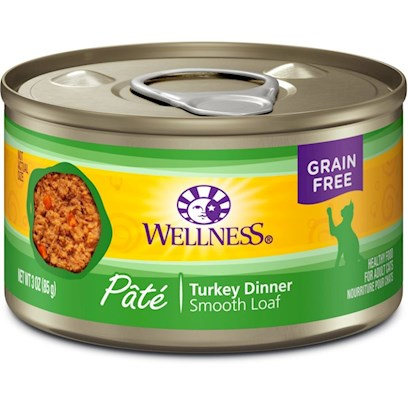 Wellpet Presents Wellness Turkey Canned Cat Food 3oz Cans-Case of 24. Water is One of the Most Important Nutrients with Respect to a Cat's Overall Wellbeing. Since Cats do not have a Strong Thirst Drive, it is Important for a Cat to Ingest Water with its Food. Packed with the Same Whole Food Nutrition as our Dry Formulas, Wellness Canned Foods are a Delicious Way to Increase your Cat's Water Intake. As a Special Treat or as a Part of your Regular Feeding, Wellness Canned Foods are yet Another Tasty Way for your Cat to Eat Healthy. Wellness Canned Turkey & Salmon Recipe Provides Two Sources of High Quality Protein and Essential Fatty Acids. Premium Quality Turkey and Salmon Provide a Source of Protein and Long Chain Omega 3 Fatty Acids which are Critical for Healthy Skin and Coat, Proper Body Function and Enhanced Learning. This Recipe also Includes Delicious Sweet Potatoes and Carrots as an Excellent Source of Vitamins, Minerals and Beta-Carotene. Fresh, Whole Cranberries and Blueberries are Added to Help Maintain Proper Urinary Tract Health. [28052]
