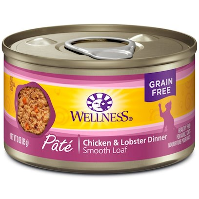 Wellpet Presents Wellness Canned Cat Food Chicken &amp; Lobster Recipe 3oz Case of 24. Water is One of the Most Important Nutrients with Respect to a Cat's Overall Wellbeing. Since Cats do not have a Strong Thirst Drive, it is Important for a Cat to Ingest Water with its Food. Packed with the Same Whole Food Nutrition as our Dry Formulas, Wellness Canned Foods are a Delicious Way to Increase your Cat's Water Intake. As a Special Treat or as a Part of your Regular Feeding, Wellness Canned Foods are yet Another Tasty Way for your Cat to Eat Healthy. Wellness Canned Chicken &amp; Lobster Recipe Provides Two Sources of High Quality Protein and Essential Fatty Acids, Made with Chicken and Fish Free of Added Growth Hormones and Steroids. High Quality Chicken Provides a Delicious, Digestible Protein Source. This Recipe also Includes Delicious Sweet Potatoes and Carrots as an Excellent Source of Vitamins, Minerals and Beta-Carotene. Fresh, Whole Cranberries and Blueberries are Added to Help Maintain Proper Urinary Tract Health Key Benefits  Made with High Quality Meat, a Cat's Best Source of Protein  Contains Vitamins and Antioxidants that Help Maintain your Cat's Immune System  Fresh, Whole Cranberries and Blueberries and Low Dietary Magnesium Helps Promote Proper Urinary Tract Function.  Fortified with Chelated Minerals and Vitamins  Taurine, an Essential Amino Acid for Cats is Necessary for Normal Eye and Heart Function Nutrition Analysis Crude Protein not Less than 10.0% Crude Fat not Less than 5.0% Crude Fiber not More than 1.0% Moisture not More than 78.0% Ash not More than 2.3% Magnesium not More than 0.025% Taurine not Less than 0.10% Ingredients Chicken, Chicken Broth, Chicken Liver, Ground Brown Rice, Lobster, Carrots, Sweet Potatoes, Squash, Zucchini, Guar Gum, Cranberries, Blueberries, Carrageenan, Ground Flaxseed, Potassium Chloride, Taurine, Salt, Iron Proteinate (a Source of Chelated Iron), Beta-Carotene, Zinc Proteinate (a Source of Chelated Zinc), Vitamin E Supplement, Choline Chloride, Cobalt Proteinate (a Source of Chelated Cobalt), Thiamine Mononitrate, Copper Proteinate (a Source of Chelated Copper), Folic Acid, Manganese Proteinate (a Source of Chelated Manganese), Niacin, D-Calcium Pantothenate, Sodium Selenite, Vitamin D-3 Supplement, Pyridoxine Hydrochloride, Riboflavin Supplement, Vitamin a Supplement, Vitamin B-12 Supplement, Potassium Iodide, Biotin. This is a Naturally Preserved Product. What it's Made without Meat by-Products, Corn or Corn Gluten, Soy, Artificial Preservatives, Wheat or Wheat Gluten or Artificial Flavors, Colors or Dyes [28054]