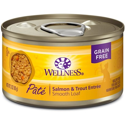 Wellpet Presents Wellness Canned Cat Food Salmon &amp; Trout Recipe 5.5oz Case of 24. Wellness Canned Salmon &amp; Trout Recipe Provides Two Sources of High Quality Protein. Salmon and Trout are Excellent Sources of Long Chain Omega 3 Fatty Acids which are Critical for Healthy Skin and Coat, Proper Body Function and Enhanced Learning. This Recipe also Includes Delicious Sweet Potatoes and Carrots as an Excellent Source of Vitamins, Minerals and Beta-Carotene. Fresh, Whole Cranberries and Blueberries are Added to Help Maintain Proper Urinary Tract Health. [28056]