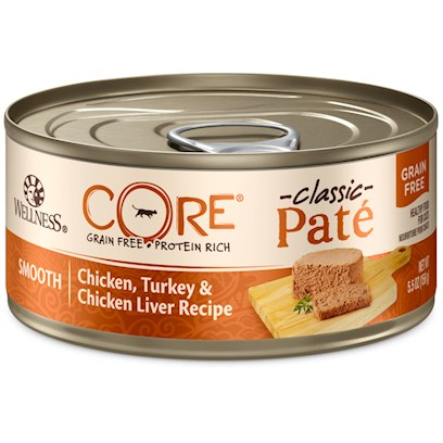 Wellpet Presents Wellness Grain Free Canned Cat Food Core Chicken Turkey &amp; Liver Recipe 5.5oz Case of 24. Healthy Treat or a Healthy Meal. Wellness Core Canned Chicken, Turkey &amp; Chicken Liver Recipe is an Excellent Source of High Quality Protein and Essential Fatty Acids, Made with Chicken, Free of Added Growth Hormones and Steroids. This Recipe also Includes Delicious Dried Ground Potatoes as an Excellent Source of Vitamins, Minerals and Beta-Carotene. Fresh, Whole Cranberries are Added to Help Maintain Proper Urinary Tract Health. Nutrition Analysis Crude Protein not Less than 12.0% Crude Fat not Less than 7.0% Crude Fiber not More than 0.5% Moisture not More than 78.0% Ash not More than 2.1% Magnesium not More than 0.028% Taurine not Less than 0.10% Ingredients Chicken, Turkey, Chicken Broth, Chicken Liver, Chicken Meal, Turkey Liver, Dried Ground Potatoes, Natural Chicken Flavor, Guar Gum, Carrageenan, Cranberries, Ground Flaxseed, Salmon Oil, Taurine, Dried Kelp, Yucca Schidigera Extract, Chicory Root Extract, Iron Proteinate, Zinc Proteinate, Vitamin E Supplement, Choline Chloride, Cobalt Proteinate, Copper Proteinate, Manganese Proteinate, Thiamine Mononitrate, Folic Acid, Niacin, Sodium Selenite, D-Calcium Panthothenate, Vitamin D-3 Supplement, Pyridoxine Hydrochloride, Riboflavin Supplement, Vitamin a Supplement, Potassium Iodide, Vitamin B-12 Supplement, Biotin. This is a Naturally Preserved Product. What it's Made without Meat by-Products, Corn or Corn Gluten, Soy, Artificial Preservatives, Wheat or Wheat Gluten or Artificial Flavors, Colors or Dyes [28060]