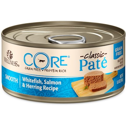 Wellpet Presents Wellness Grain Free Canned Cat Food Core Salmon Whitefish &amp; Herring Recipe 5.5oz Cans/Case of 24. Healthy Treat or a Healthy Meal Wellness Core Canned Salmon, Whitefish &amp; Herring Recipe is an Excellent Source of High Quality Protein and Essential Fatty Acids. Salmon Provides an Exceptional Source of Long Chain Omega 3 Fatty Acids which are Critical for Healthy Skin and Coat, Proper Body Function and Enhanced Learning. This Recipe also Includes Delicious Dried Ground Potatoes as an Excellent Source of Vitamins, Minerals and Beta-Carotene. Fresh, Whole Cranberries are Added to Help Maintain Proper Urinary Tract Health. [28061]