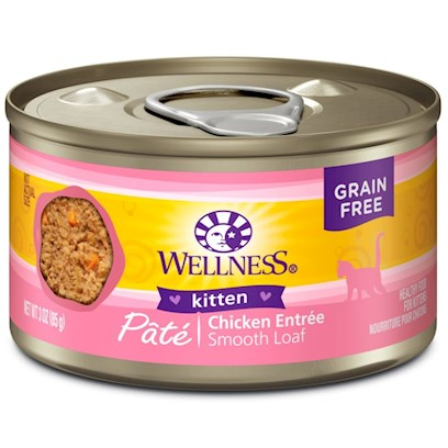 Wellpet Presents Wellness Canned Cat Food Kitten Recipe 3oz Cans-Case of 24. Kittens Require Extra Energy in the Form of Calories, Fat and Protein to Fuel all of their Growing, Playing and Discovering. Kitten Food Recipe is Carefully Formulated with these Unique Needs in Mind. Ingredients Like Chicken and Chicken Liver Provide Increased Protein and Fat Levels Support the Development of Strong Muscles, Bones and Organs. Whole Fruits and Vegetables Like Blueberries, Cranberries and Sweet Potatoes Provide Vitamins, Minerals and Antioxidants to Strengthen Cells and Protect Against Free Radicals that Cause Disease. Key Benefits  Made with High Quality Meat, a CatS Best Source of Protein  Contains Vitamins and Antioxidants that Help Maintain your CatS Immune System  Fresh, Whole Cranberries and Blueberries and Low Dietary Magnesium Helps Promote Proper Urinary Tract Function.  Fortified with Chelated Minerals and Vitamins  Taurine, an Essential Amino Acid for Cats is Necessary for Normal Eye and Heart Function Nutrition Analysis Crude Protein not Less than 11.0% Crude Fat not Less than 7.0% Crude Fiber not More than 1.0% Moisture not More than 78.0% Ash not More than 2.3% Magnesium not More than 0.025% Taurine not Less than 0.10% Ingredients Chicken, Chicken Liver, Chicken Broth, Carrots, Sweet Potatoes, Squash, Zucchini, Guar Gum, Cranberries, Blueberries, Ground Flaxseed, Salt, Taurine, Potassium Chloride, Carrageenan, Iron Proteinate (a Source of Chelated Iron), Beta-Carotene, Zinc Proteinate (a Source of Chelated Zinc), Vitamin E Supplement, Choline Chloride, Cobalt Proteinate (a Source of Chelated Cobalt), Thiamine Mononitrate, Copper Proteinate (a Source of Chelated Copper), Folic Acid, Manganese Proteinate (a Source of Chelated Manganese), Niacin, D-Calcium Pantothenate, Sodium Selenite, Vitamin D-3 Supplement, Pyridoxine Hydrochloride, Riboflavin Supplement, Vitamin a Supplement, Vitamin B-12 Supplement, Potassium Iodide, Biotin. This is a Naturally Preserved Product. What it's Made without Meat by-Products, Corn or Corn Gluten, Soy, Artificial Preservatives, Wheat or Wheat Gluten or Artificial Flavors, Colors or Dyes [28062]