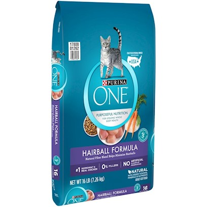 Nestle Purina Petcare Presents O.N.E. Dry Advantage Hairball Formula 16lb Bag. Analysis Crude Protein (Min) 38.0% Zinc (Zn) (Min) 100 Mg/Kg Crude Fat (Min) 8.5% Selenium (Se) (Min) 0.30 Mg/Kg Crude Fiber (Max) 5.0% Vitamin a (Min) 11,000 Iu/Kg Moisture (Max) 12.0% Vitamin D (Min) 800 Iu/Kg Linoleic Acid (Min) 1.4% Vitamin E (Min) 100 Iu/Kg Calcium (Ca) (Min) 1.0% Taurine (Min) 0.15% Phosphorus (P) (Min) 0.9% [28063]