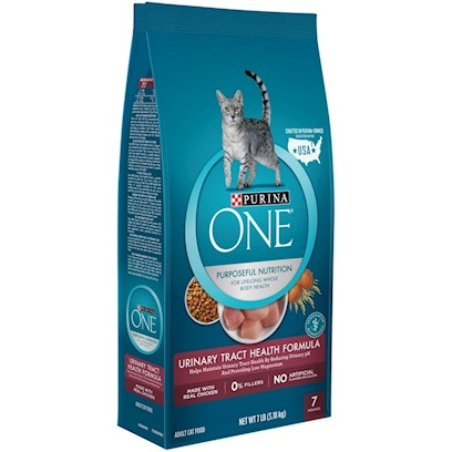 Nestle Purina Petcare Presents O.N.E. Urinary Tract Health Formula for Cats 16lb Bag. Analysis Crude Protein (Min) 31.0% Linoleic Acid (Min) 1.4% Crude Fat (Min) 12.5% Calcium (Ca) (Min) 0.8% Crude Fiber (Max) 2.0% Phosphorus (P) (Min) 0.7% Moisture (Max) 10.0% Magnesium (Mg) (Max) 0.08% Ash (Max) 6.2% Taurine (Min) 0.15% [28064]