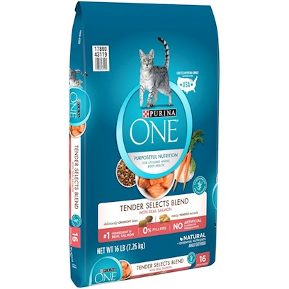 Nestle Purina Petcare Presents O.N.E. Salmon and Tuna Flavor Dry Cat Food 16lb Bag. Analysis Crude Protein (Min) 34.0% Phosphorus (P) (Min) 0.9% Crude Fat (Min) 13.0% Selenium (Se) (Min) 0.35 Mg/Kg Crude Fiber (Max) 2.5% Vitamin a (Min) 11,000 Iu/Kg Moisture (Max) 12.0% Vitamin E (Min) 250 Iu/Kg Linoleic Acid (Min) 1.4% Taurine (Min) 0.15% Calcium (Ca) (Min) 1.0% Omega-6 Fatty Acids (Min)* 1.5% [28068]