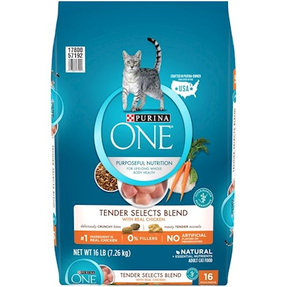 Nestle Purina Petcare Presents O.N.E. Chicken and Rice Formula Dry Cat Food 16lb Bag. Analysis Crude Protein (Min) 34.0% Phosphorus (P) (Min) 0.7% Crude Fat (Min) 13.0% Magnesium (Mg) (Max) 0.09% Crude Fiber (Max) 2.0% Selenium (Se) (Min) 0.35 Mg/Kg Moisture (Max) 12.0% Vitamin a (Min) 11,000 Iu/Kg Ash (Max) 7.0% Vitamin E (Min) 250 Iu/Kg Linoleic Acid (Min) 1.4% Taurine (Min) 0.15% Calcium (Ca) (Min) 0.8% Omega-6 Fatty Acids (Min)* 1.5% [28070]