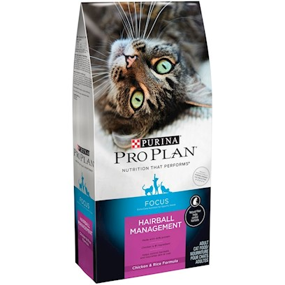 Nestle Purina Petcare Presents Pro Plan Extracare Hairball Management Chicken/Rice for Cats Extra Care 16lb. Analysis Crude Protein (Min) - 40.0 % Crude Fat (Min) - 16.0 % Crude Fiber (Max) - 5.5 % Moisture (Max) - 12.0 % Linoleic Acid (Min) - 1.4 % Vitamin a - 10,000 Iu/Kg Vitamin E - 400 Iu/Kg Taurine (Min) 0.15 % [28082]