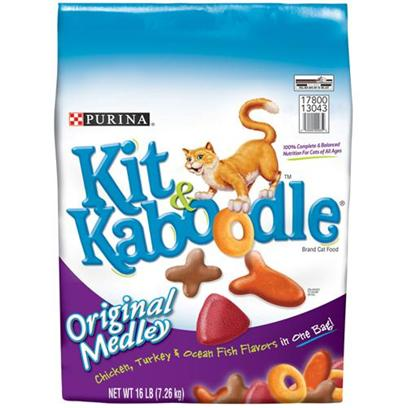 Nestle Purina Petcare Presents Purina Kit 'N Kaboodle Cat Food N 16lb Bag. Analysis Crude Protein (Min) 30.0% Moisture (Max) 12.0% Crude Fat (Min) 8.0% Calcium(Ca) (Min) 1.0% Crude Fiber (Max) 4.5% Phosphorus (P) (Min) 0.8% [28090]