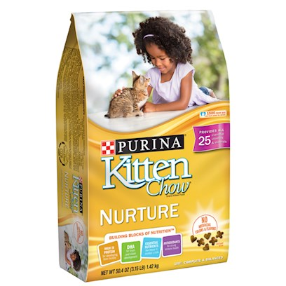 Nestle Purina Petcare Presents Purina Kitten Chow Dry Cat Food 14lb. Analysis Crude Protein (Min) 40.0% Crude Fat (Min) 12.5% Crude Fiber (Max) 4.0% Moisture (Max) 12.0% Calcium (Ca) (Min) 1.2% Phosphorus (P) (Min) 1.1% Taurine (Min) 0.125% [28091]