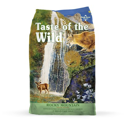 Diamond Pet Foods Presents Taste of the Wild Rocky Mountain-Venison and Smoked Salmon Dry Cat Food 15lb Bag. Taste of the Wild, Gone Huntin' Edition Cats are Always on the Prowl. Give your Feline Friend the Tasty Goodness they are Looking for with Taste of the Wild Rocky Mountain Feline Roasted Venison & Smoked Salmon Formula. Perfect for all Stages of Life, this Food Promotes Healthy Living with Real Lean Cuts of Meat and Fish (Both Certified Hormone Free and Antibiotic Free). It also Contains Highly Digestible Sources of Protein, while Sweet Potatoes and Peas Boost Energy Levels. The Roasted Venison & Smoked Salmon Formula is Supplemented with Fruits and Vegetables, Providing Natural Antioxidants to Support a Healthy Immune System and Overall Good Health. All Taste of the Wild Products are Grain Free. [28101]