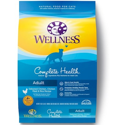 Wellpet Presents Wellness Complete Health Deboned Chicken Meal and Rice Recipe 12lb Bag. Deboned Chicken, Chicken Meal &amp; Rice Recipe is a Well-Rounded, Everyday Diet Including Meats, Grains and Fruits with a Focus on the Nutrition that Cats Need to Stay Fit and Healthy when they have a Moderate Activity Level and an Indoor/Outdoor Lifestyle. This Delicious Formula Delivers Whole Food Nutrition for a Long, Healthy Life. Key Benefits  Highly Palatable Proteins from Quality Sources to Build Lean Muscle Mass  Omega 6 &amp; 3 Fatty Acids from Salmon, Olive Oil &amp; Flaxseed and Controlled Ash &amp; Mineral Levels to Help Maintain Healthy Skin and Glossy Coat  Triple Cranberry System with Three Sources of Cranberries and a Guaranteed Magnesium Level to Help Promote Healthy Urinary Tract Function  Ideal Balance of Calories to Help Maintain Ideal Body Weight  no Wheat, Meat by-Products, or Artificial Colors, Flavors or Preservatives Nutrition Analysis Guaranteed Analysis Crude Protein not Less than 36.0% Crude Fat not Less than 18.0% Crude Fiber not More than 3.0% Moisture not More than 11.0% Ash not More than 6.5% Magnesium not More than 0.098% Vitamin E not Less than 300 Iu/Kg Taurine Ingredients Deboned Chicken, Chicken Meal, Rice, Ground Barley, Ground Rice, Chicken Fat(Preserved with Mixed Tocopherols, a Natural Source of Vitamin E), Natural Chicken Flavor, Salmon Meal, Chicken Liver, Cranberries, Tomato Pomace, Olive Oil, Chicory Root Extract, Cranberry Extract Powder, Cranberry Fiber, Flaxseed, Potassium Chloride, Vitamins (Vitamin E Supplement, Niacin, Ascorbic Acid (Vitamin C), Thiamine Mononitrate, Calcium Pantothenate, Riboflavin, Pyridoxine Hydrochloride, Beta-Carotene, Vitamin a Supplement, Vitamin D-3 Supplement, Folic Acid, Biotin, Vitamin B-12 Supplement), Choline Chloride, Minerals (Zinc Proteinate, Zinc Sulfate, Iron Proteinate, Ferrous Sulfate, Copper Sulfate, Copper Proteinate, Manganese Proteinate, Manganese Sulfate, Calcium Iodate, Sodium Selenite), Yucca Schidigera Extract, Dried Kelp, Chondroitin Sulfate, Glucosamine, Hydrochloride, Lactobacillus Plantarum, Enterococcus Faecium, Lactobacillus Casei, Lactobacillus Acidophilus, Taurine, Rosemary Extract. This is a Naturally Preserved Product. What it's Made without Meat by-Products, Corn or Corn Gluten, Soy, Artificial Preservatives, Wheat or Wheat Gluten or Artificial Flavors, Colors or Dyes [28102]