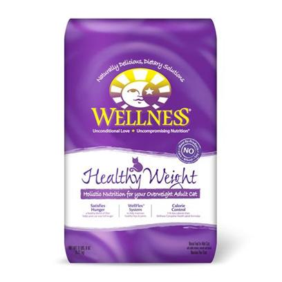 Wellpet Presents Wellness Dry Cat Food for Adult Healthy Weight Recipe 11.5lb Bag. Healthy Weight is a Well-Rounded, Solution-Focused Diet of Meats, Grains and Fruits for Cats with a More Sedentary Lifestyle. Recipe is Developed Based on the Nutrition that Overweight Cats Need to Remain Healthy with Less Caloric Intake. These Cats Tend to Gain Weight (Lifestyle is More Sedentary), Experience Hip and Joint Problems (from Carrying Excessive Weight or Aging), and Tend to Eat More (because they do not Feel Full).Key Benefits Highly Palatable Proteins from Quality Sources to Build Lean Muscle Mass and a Healthy Blend of Fiber to Feel Full Longer Lower Fat and Fewer Calories to Support Weight Control Triple Cranberry System with Three Sources of Cranberries and a Guaranteed Magnesium Level to Help Promote Healthy Urinary Tract Function Wellflex System with Glucosamine and Chondroitin to Help Maintain Healthy Hips and Joints no Wheat, Meat by-Products, or Artificial Colors, Flavors or Preservativesnutrition Analysiscrude Protein not Less than 30.0%Crude Fat not Less than 8.0%Crude Fiber not More than 4.0%Moisture not More than 11.0%Ash not More than 6.5%Magnesium not More than 0.098%Vitamin E not Less than 300 Iu/Kgtaurine not Less than 0.2%Ingredientsdeboned Chicken, Chicken Meal, Rice, Ground Barley, Ground Rice, Whitefish Meal, Natural Chicken Flavor, Tomato Pomace, Chicken Liver, Oat Fiber, Cranberries, Olive Oil, Chicory Root Extract, Cranberry Extract Powder, Cranberry Fiber, Flaxseed, Potassium Chloride, Vitamins (Vitamin E Supplement, Niacin, Ascorbic Acid (Vitamin C), Thiamine Mononitrate, Calcium Pantothenate, Riboflavin, Pyridoxine Hydrochloride, Beta-Carotene, Vitamin a Supplement, Vitamin D-3 Supplement, Folic Acid, Biotin, Vitamin B-12 Supplement), Choline Chloride, Minerals (Zinc Proteinate, Zinc Sulfate, Iron Proteinate, Ferrous Sulfate, Copper Sulfate, Copper Proteinate, Manganese Proteinate, Manganese Sulfate, Calcium Iodate, Sodium Selenite), Glucosamine Hydrochloride, Chondroitin Sulfate, Yucca Schidigera Extract, Dried Kelp, L-Carnitine, Lactobacillus Plantarum, Enterococcus Faecium, Lactobacillus Casei, Lactobacillus Acidophilus, Taurine, Rosemary Extract.This is a Naturally Preserved Product. What it's Made Withoutmeat by-Products, Corn or Corn Gluten, Soy, Artificial Preservatives, Wheat or Wheat Gluten or Artificial Flavors, Colors or Dyes [28105]