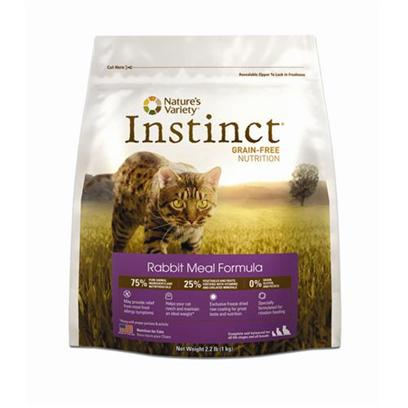 Nature's Variety Presents Nature's Variety Instinct Grain Free Rabbit Meal Dry Cat Food 12.1bag. Real Meat. Lean Poultry. Wholesome Fruits and Vegetables. Natural and Healthful Ingredients Like these are the Ideal Way to Properly Nourish your Carnivorous Feline Friend. The Natural Results of High Quality Nutrition Include a Soft Glossy Coat, a Healthy Urinary Tract, and Energy to Fuel her Zany Attitude. At Nature's Variety, Every Ingredient is Chosen with Care for the Health and Happiness of your Furry Friend. Our Foods are 100% Free of Corn, Wheat, Soy, Chemical Preservatives, and Artificial Colors &amp; Flavors. Each Diet is Rich in Meat, Poultry or Fish Proteins to Give your Cats Everything they Need for a Long and Happy Life with You. Instinct is also Highly Digestible and Nutritionally Dense, Making it a Natural Solution for Pets with Allergies or Weight Issues. Give your Cats the Variety they Crave just Like you don't Eat the Same Thing Every Day, Neither should your Cat! All Nature's Variety Foods are Specially Formulated so that you can Easily Feed your Cat Different Flavors (Like Chicken, Rabbit and Duck) and/or Forms (Kibble and Cans). That Means your Cat can Enjoy Chicken One Day and Rabbit the Next without Digestive Upset! Feeding a Variety of Forms and Flavors will Add Interest at Mealtime, and may also Help Prevent the Development of Food Allergies over Time. Key Benefits  Grain-Free Kibble (no Fillers or Soy) - Proven to Provide Great Taste and Nutrition  Helps your Cat Reach and Maintain an Ideal Weight Along with Proper Portions and Exercise  Complete and Balanced for all Life Stages and all Cats  Made in the Usa Nutrition Analysis Crude Protein (Min.) 40.00%, Crude Fat (Min.) 20.00%, Crude Fiber (Max.) 2.4%, Moisture (Max.) 10.00% Nature's Variety Instinct Rabbit Meal Formula for Cats is Formulated to Meet the Nutritional Levels Established by the Aafco Cat Food Nutrient Profiles for all Life Stages. Ingredients Rabbit Meal, Chicken Meal, Salmon Meal, Herring Meal, Tapioca, Chicken Fat, Pumpkinseeds, Sun-Cured Alfalfa Meal, Tomato Pomace, Montmorillonite Clay, Sunflower Oil, Natural Pork Flavor, Dl-Methionine, Vitamins (Choline Chloride, Vitamin E Supplement, Ascorbic Acid, Biotin, Niacin Supplement, Vitamin a Acetate, D-Calcium Pantothenate, Riboflavin Supplement, Pyridoxine Hydrochloride, Thiamine Mononitrate, Vitamin B12 Supplement, Carotene, Vitamin D3 Supplement, Folic Acid), Minerals (Zinc Proteinate, Iron Proteinate, Manganese Proteinate, Copper Proteinate, Sodium Selenite, Ethylenediamine Dihydriodide), Sea Salt, Dried Kelp, Taurine, Peas, Cranberries, Blueberries, Direct-Fed Microorganisms (Saccharomyces Cerevisiae Yeast Culture, Dried Enterococcus Faecium Fermentation Product, Dried Lactobacillus Acidophilus Fermentation Product, Dried Aspergillus Niger Fermentation Extract, Dried Trichoderma Longibrachiatum Fermentation Extract, Dried Bacillus Subtilis Fermentation Extract), Inulin, Mixed Tocopherols with Citric Acid (a Natural Preservative), Rosemary Extract, Freeze Dried Rabbit, Freeze Dried Pork Liver, Freeze Dried Pork Heart, Freeze Dried Ground Rabbit Bone [28122]