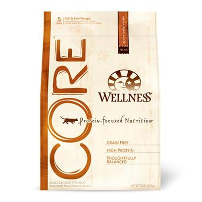 Wellpet Presents Wellness Core Grain-Free Dry Cat Food-Fish &amp; Fowl Recipe 12lb Bag.  Wellness Core is Based on the Nutritional Philosophy that Pets, Based on their Primal Ancestry, Thrive on a Diet Mainly Comprised of Meat. Each Formula is Packed with a High Concentration of Quality Animal Protein, without Fillers or Grains, Along with a Proprietary Blend of Botanicals and Nutritional Supplements. This Unique, Grain-Free Recipe Supports and Nurtures your PetS Insidetheir Essencetheir Core.  to Create a Protein-Focused Diet the Wellness Way, we Carefully Control the Quality and Quantity of the Ingredients we Use, and Pay Close Attention to the Individual Properties of Each Inclusion. From Source to Bowl, we Make no Exceptions!  if you are Looking for a Food with More Meat and no Grains, Core is Truly a More Thoughtful Alternative. This Diet Delivers the Meat Content youRe Looking for, while Creating a Balanced Profile of High Quality, Natural Ingredients Appropriate for Everyday Feeding.  Supporting your Pet's Inner Wellbeing. [28127]