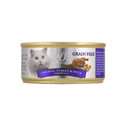 Petcurean Presents Go! Fit + Free Grain Chicken/Turkey/Duck Canned Cat Food 5.5oz Cans-Case of 24. Analysis Crude Protein - (Min) 12% Available in 5.5 Oz Cans Crude Fat - (Min) 8% Crude Fiber - (Max) .5% Moisture - (Max) 78% [28128]