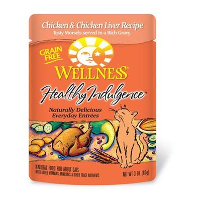 Wellpet Presents Wellness Healthy Indulgence Chicken &amp; Liver for Cats 3oz Cans-Case of 24. Analysis Crude Protein Min. 8.0% Crude Fat Min. 4.0% Crude Fiber Max. 1.0% Moisture Max. 82.0% Ash Max. 2.5% Magnesium Max. 0.025% Taurine Min. 0.10% [28140]