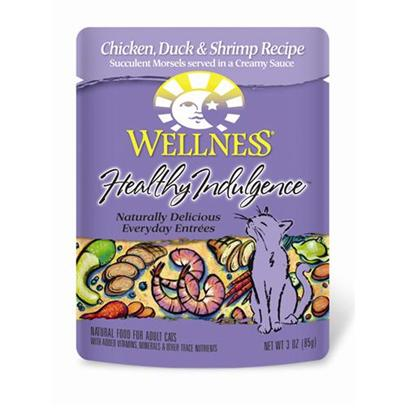 Wellpet Presents Wellness Healthy Indulgence Chicken Duck &amp; Shrimp for Cats 3oz Cans-Case of 24. Analysis Crude Protein Min. 8.0% Crude Fat Min. 4.0% Crude Fiber Max. 1.0% Moisture Max. 82.0% Ash Max. 2.0% Magnesium Max. 0.025% Taurine Min. 0.10% [28142]