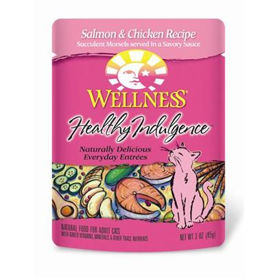 Wellpet Presents Wellness Healthy Indulgence Salmon and Chicken for Cats 3oz Cans-Case of 24. Analysis Crude Protein Min. 8.0% Crude Fat Min. 4.0% Crude Fiber Max. 1.0% Moisture Max. 82.0% Ash Max. 2.5% Magnesium Max. 0.025% Taurine Min. 0.10% [28143]