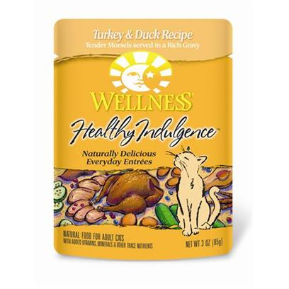 Wellpet Presents Wellness Healthy Indulgence Turkey and Duck for Cats Recipe 3oz Case of 24. Analysis Crude Protein Min. 8.0% Crude Fat Min. 4.0% Crude Fiber Max. 1.0% Moisture Max. 82.0% Ash Max. 2.0% Magnesium Max. 0.025% Taurine Min. 0.10% [28146]