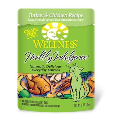 Wellpet Presents Wellness Healthy Indulgence Turkey/Chicken for Cats 3oz Cans-Case of 24. Analysis Crude Protein Min. 8.0% Crude Fat Min. 4.0% Crude Fiber Max. 1.0% Moisture Max. 82.0% Ash Max. 2.5% Magnesium Max. 0.025% Taurine Min. 0.10% [28147]
