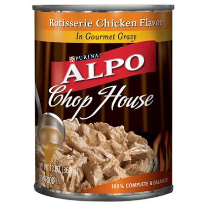 Nestle Purina Petcare Presents Alpo Chophouse Canned Gourmet Rotisserie Chicken for Dogs 22oz Cans/Case of 12. Analysis Crude Protein (Min)8.00% Crude Fat (Min)2.00% Crude Fiber (Max)1.50% Moisture (Max)82.00% [28167]