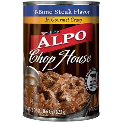 Nestle Purina Petcare Presents Alpo Chophouse Canned Gourmet T-Bone Flavor Gravy for Dogs 22oz Cans/Case of 12. Analysis Crude Protein (Min)8.00% Crude Fat (Min)2.00% Crude Fiber (Max)1.50% Moisture (Max)82.00% [28168]
