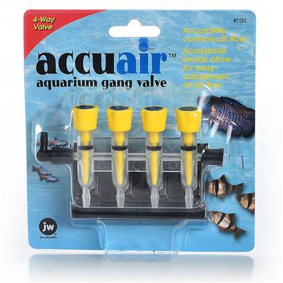 Jw Pet Company Presents Jw Pet Company (Jw) Pet Company Accuair Gang Valve Single 4-Way. The Accuair Gang Valve is a True Air Control Valve. This Modern Gang Valve has a Large Yellow Easy to Turn Knob that Make Adjusting the Airflow Easy and Accurate. The Accuair Gang Valve Uses a Needle Valve, which Allows the Air to be Adjusted in Small Increments to Control the Exact Amount of Air Flow Desired. Another Unique Feature of the Accuair Gang Valve is the Hanger Attachment, which Enables the Valve to be Mounted Securely on any Size Tank. [28249]