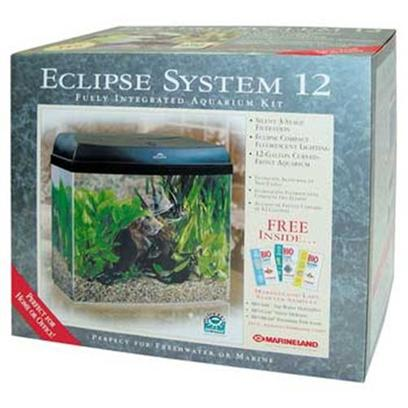 Marineland Presents Marineland Eclipse 12gallon System. 12 Gallon Eclipse System the Eclipse Top-Mounted, Three-Stage System Combines Simple, Elegant Styling with Superior Performance Efficiency. All Water is Filtered through the High-Performance Eclipse Rite-Size Filter Cartridge and then Directed to the Patented Marineland Bio-Wheel. The Result 100% Water-to-Media Contact for Excellent Water Quality...And a Healthier Environment for your Plants and Fish. Easy to Install, Easy to Operate, the Eclipse System Provides Unlimited, Unhindered Access to the Entire Aquarium. The Specially Selected Fluorescent Daylight Bulb is Ideal for Plant Growth and Ornamental Fish Color Enhancement. And because all Filtration Media is Inside the Top Mounted Unit, the Eclipse has Minimal Rear Space Requirements for Against-the-Wall Placement. [28277]