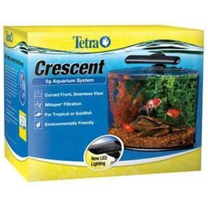 Tetra Usa Presents Tetra Crescent Kit 3gallon. Desktop Aquarium Kits Featuring a Seamless, Contemporary Look and Led Lighting Technology. Curved Front Adds Additional Depth and Beauty to the Aquarium. Environmentally-Friendly 16-Led Light Creates a Soft Shimmer in the Water and is Durable and Easy to Use . Whisper Filtration Keeps Water Crystal Clear and Healthy. Crescent 5 is Designed with Angled Sides to Fit Easily into Corners. Components 5 Gal Aquarium Tetra Whisper Internal Filter &amp; Medium Filter Cartridge Aquarium Base &amp; Clear Cover Tetracare Usage and Registration Information Complete Aquarium Set-Up Guide [28519]
