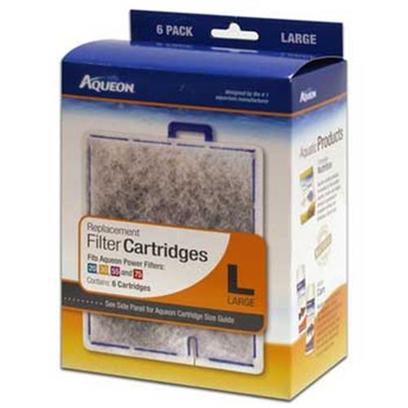 Aqueon Presents Aqen Large Cartridge 6pk 6-Pack. Patented Aqueon Dual-Sided Replaceable Dense-Floss Cartridges Contain over 25% More Activated Carbon than the Leading Brands and have been Designed to Ensure Even Distribution of Carbon Throughout. [28535]