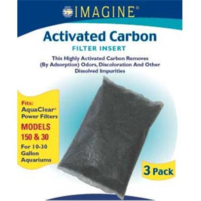 Imagine Gold Presents Imagine Gold Aquclear 30 (150) Active Carbon Fits Models 150 &amp; 30-3 Pack. This Highly Activated Carbon Removes (by Adsorption) Odors, Discoloration and Other Dissolved Impurities Fits Aquaclear(R) Power Filters Models 150 &amp;30, for 10-30 Gallon Aquariums [28568]