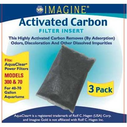 Imagine Gold Presents Imagine Gold Aquaclear 70 (300) Active Carbon Fits Models 300. This Highly Activated Carbon Removes (by Adsorption) Odors, Discoloration and Other Dissolved Impurities Fits Aquaclear(R) Power Filter Models 300 &amp; 70, for 40-70 Gallon Aquariums [28581]