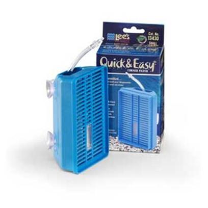 Lee's Presents Lees Quick &amp; Easy Corner Filter-Small Small. A Mechanical Filtration System that is Complete, Ready for Installation in your Aquarium. Simply Attach to Airline and Pump. The Special Design Allows for Maximum Water Circulation. It has 3 Suction Cups for Stability. The Solid Plastic Window on the Filter Cover Allows Viewing for Maintenance Requirements. Maintenance is done in 3 Quick &amp; Easy Steps [28611]