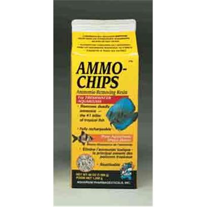 Aquarium Pharmaceuticals Presents Aquarium Pharmaceuticals (Ap) Ammo Chip Carton 1/2gallon/54oz. An Economical Ammonia Remover Developed Especially for Freshwater Aquariums. Great in Outdoor Ponds and Aquariums. Protects Against Ammonia Build-Up or Surge. Keeps Goldfish Healthy and Goldfish Bowls Clean for Up to Two Weeks. 1/2 Gallon Box, 48 Oz. 1/4 Cup for Each 10 Gallons of Aquarium or Pond Water [28677]