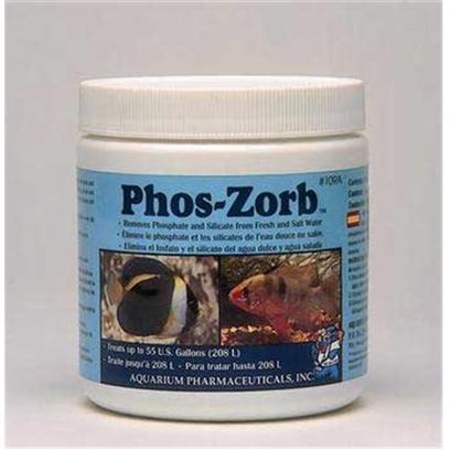 Aquarium Pharmaceuticals Presents Aquarium Pharmaceuticals (Ap) Phos Zorb Phos-Zorb 5.25oz. Specialized Synthetic Adsorption Media that Removes Phosphate and Silicate from Fresh and Saltwater Aquariums. Treats Up to 55 Gallons. 5.25 Oz. Pouch in Jar Treats Up to 55 Gallons Treats Up to 55 Gallons [28686]