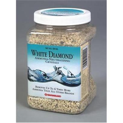Marineland Presents Marineland (Ml) White Diamond Crystals 60oz. Ammonia-Neutralizing Crystals is Ideal for all Freshwater Aquariums and Ponds. White Diamond Removes Up to 4 Times More Deadly Ammonia to Keep Water Clean and Fish-Safe. It Protects Against Sudden Ammonia 'Spikes' and Helps Control the Presence of Ammonia...Especially During the Break-in Period [28830]