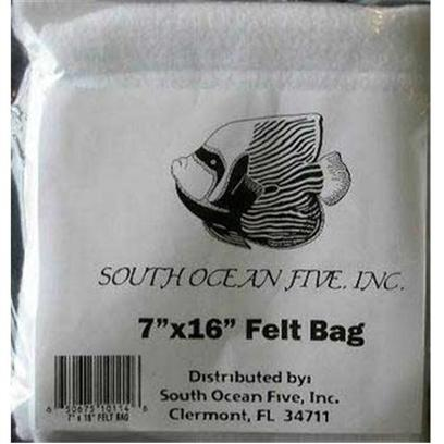 South Ocean Five Presents Ocean 5 Felt Media Bag 7x16 Filter (7 X 12'). The Felt Media Bag (10 Oz. Density) is a Combination of Felt Material and Polyester Material Sewn Together. The Two Layers Give Added Strength for Holding any Substrates without Stretching as Well as Filtering the Water. This Media Bag is Made from 100% Polyester with a Polyester Tie Cord, Sewn with a Five-String Merrow Machine with a Full Safety Stitch Inside. 5&quot;X16&quot; [28833]