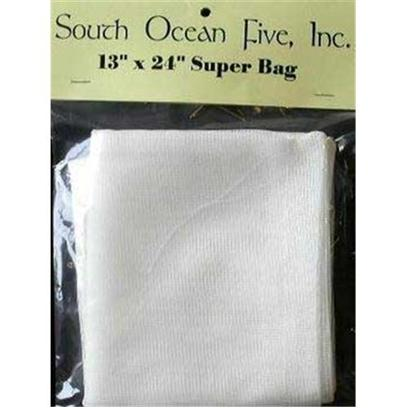 South Ocean Five Presents Ocean 5 Super Bag 24x13' Filter (24 X 13'). The Super Bag (13x24&quot;) is Sewn Exactly as the Regular Nylon Bags but is Made from a Coarser 16 Mesh Material, which is the Same Material which is Used on the Outside of our Close Bags. [28842]