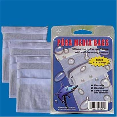 Pura (Magnavore) Presents Pura Media Bags 300 Micron 3pk 6x12'. Pura Media Bags are Designed for Professional Filtration Applications. 300-Micron Mesh Keeps Media in Preventing Fines from Washing out of the Bag. Self-Fastening Closure is Far Superior to Drawstrings and Provides an Additional Leak Proof Safety Factor. Three 6 X 12 in 300-Micron Bags Per Pack. Self Closure &amp; Leak Proof. Washable and Reusable. [28851]