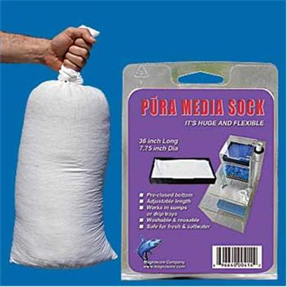 Pura (Magnavore) Presents Pura Media Sock 7.75' Dia 36'l 36' Long with Closed Bottom. Pura Media Socks are Designed to Provide Enormous Flexibility in Containing Bulk Medias in Many Filtration Devices without Water Bypass. A 36 X 7.75 in Stretchable Sock. Pre-Closed Bottom and Adjustable Length. Washable and Reusable. [28852]