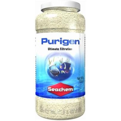 Seachem Laboratories Presents Seachem Purigen 250ml. Purigen is a Premium Synthetic Adsorbent that is Unlike any Other Filtration Product. It is not a Mixture of Ion Exchangers or Adsorbents, but a Unique Macro-Porous Synthetic Polymer that Removes Soluble and Insoluble Impurities from Water at a Rate and Capacity that Exceeds all Others by over 500%. Purigen Controls Ammonia, Nitrites and Nitrates by Removing Nitrogenous Organic Waste that would Otherwise Release these Harmful Compounds. Purigens Impact on Trace Elements is Minimal. It Significantly Raises Redox. It Polishes Water to Unparalleled Clarity. Purigen Darkens Progressively as it Exhausts, and is Easily Renewed by Treating with Bleach. Purigen is Designed for Both Marine and Freshwater Use. [28896]