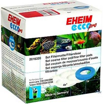 Eheim Presents Eheim Filter Pad Set New Ecco 5 Pack (1 Blue 4 White). Eheim's Coarse Blue Filter Pad is Used as a Parting Layer Between the Mechanical (Ehfimech) and Biological Filter Medium (Ehfisubstrat/Ehfisubstrat Pro). Coarser Particles are Restrained and are Thus Removed from the Water Prior to Entry into the Biologically Acting Filter Layers. This Filter Material may be Rinsed and Re-Used; Rinse in Tank Water or Dechlorinated Tap Water to Keep it's Biological Filtering Capabilities. 5 Pc [28976]